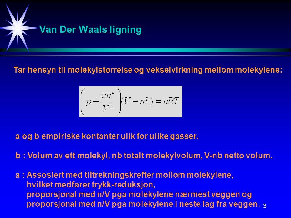 3 Van Der Waals ligning Tar hensyn til molekylstørrelse og vekselvirkning mellom molekylene: a og b empiriske kontanter ulik for ulike gasser. b : Vol
