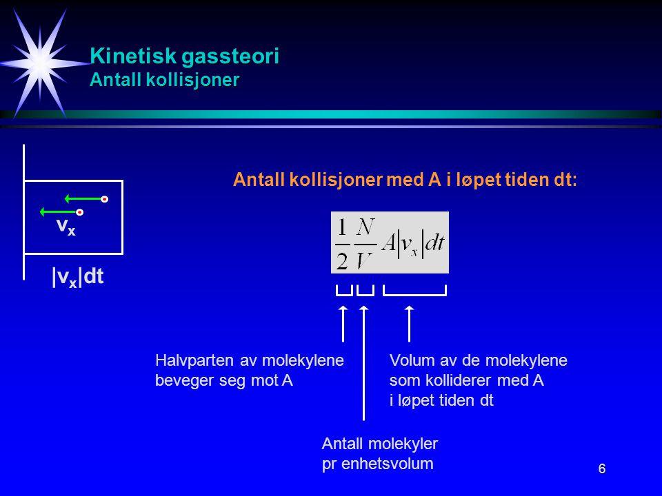 6 Kinetisk gassteori Antall kollisjoner Halvparten av molekylene beveger seg mot A vxvx |v x |dt Antall kollisjoner med A i løpet tiden dt: Antall mol