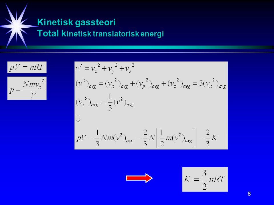 9 Kinetisk molekylær modell av en ideal gass K inetisk translatorisk energi til et gassmolekyl Boltzmann konstant: