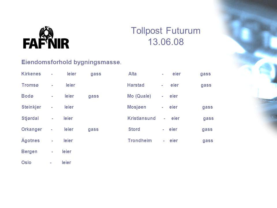 Tollpost Futurum 13.06.08 Eiendomsforhold bygningsmasse. Kirkenes - leier gass Alta - eier gass Tromsø - leier Harstad - eier gass Bodø - leier gass M