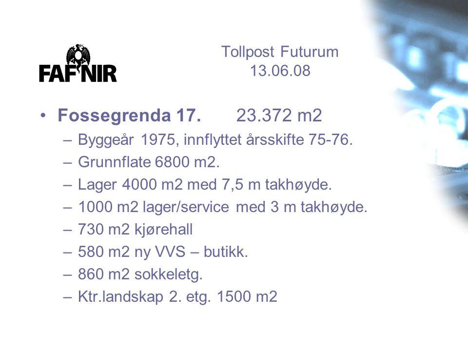 Tollpost Futurum 13.06.08 •Fossegrenda 17. 23.372 m2 –Byggeår 1975, innflyttet årsskifte 75-76. –Grunnflate 6800 m2. –Lager 4000 m2 med 7,5 m takhøyde