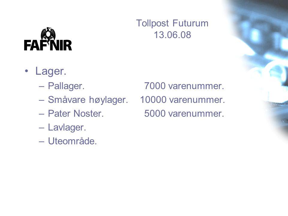 Tollpost Futurum 13.06.08 •Lager. –Pallager. 7000 varenummer. –Småvare høylager. 10000 varenummer. –Pater Noster. 5000 varenummer. –Lavlager. –Uteområ