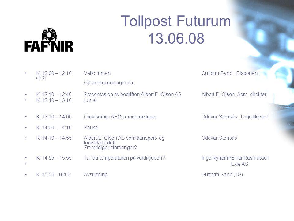 Tollpost Futurum 13.06.08 •Kl 12:00 – 12:10 Velkommen Guttorm Sand, Disponent (TG) Gjennomgang agenda •Kl 12:10 – 12:40 Presentasjon av bedriften Albe