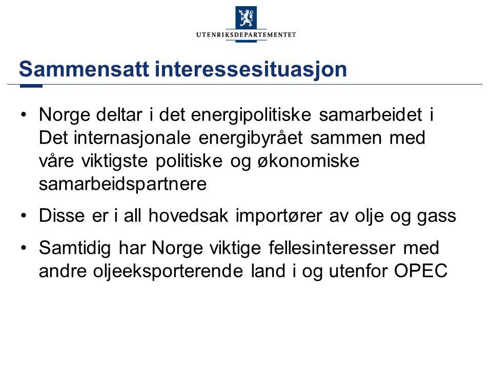Sammensatt interessesituasjon •Norge deltar i det energipolitiske samarbeidet i Det internasjonale energibyrået sammen med våre viktigste politiske og