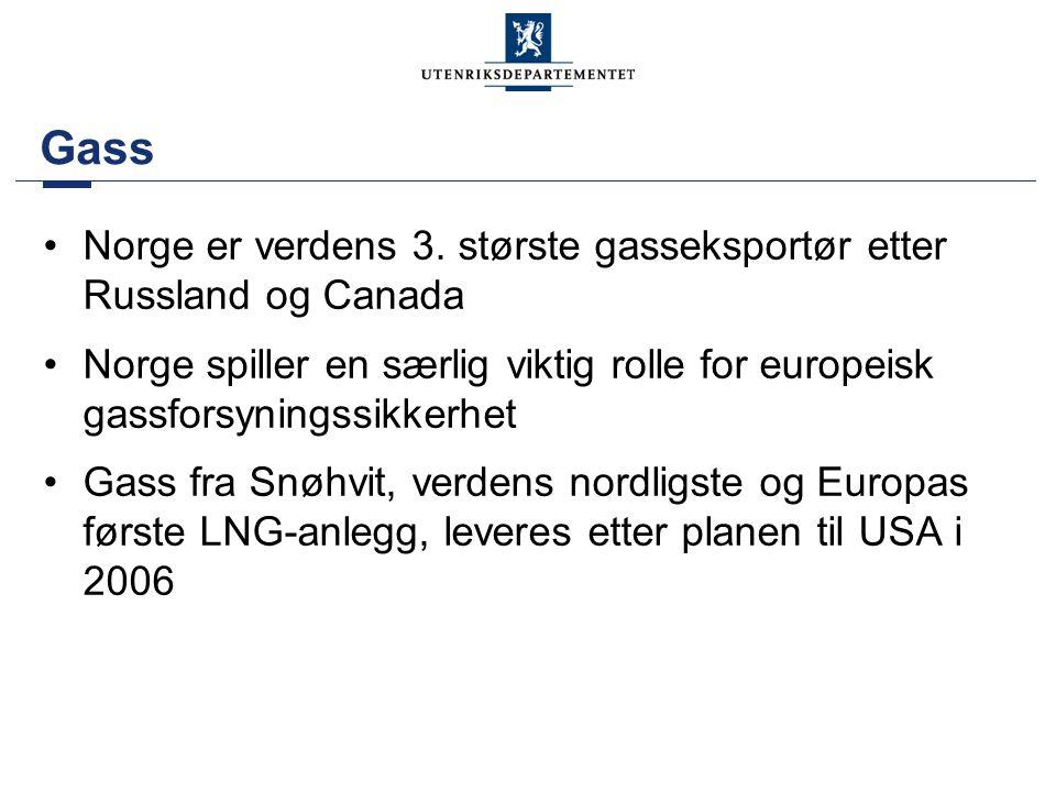 Gass •Norge er verdens 3. største gasseksportør etter Russland og Canada •Norge spiller en særlig viktig rolle for europeisk gassforsyningssikkerhet •