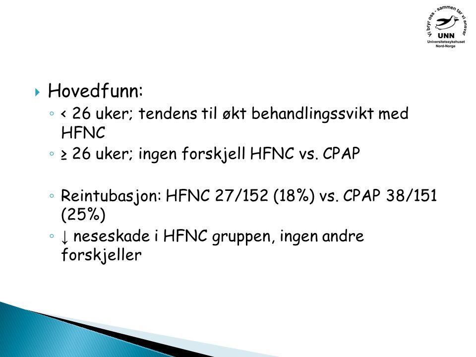  Hovedfunn: ◦ < 26 uker; tendens til økt behandlingssvikt med HFNC ◦ ≥ 26 uker; ingen forskjell HFNC vs.