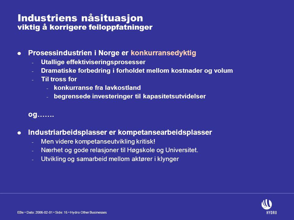 EBe • Dato: 2006-02-01 • Side: 15 • Hydro Other Businesses Industriens nåsituasjon viktig å korrigere feiloppfatninger  Prosessindustrien i Norge er
