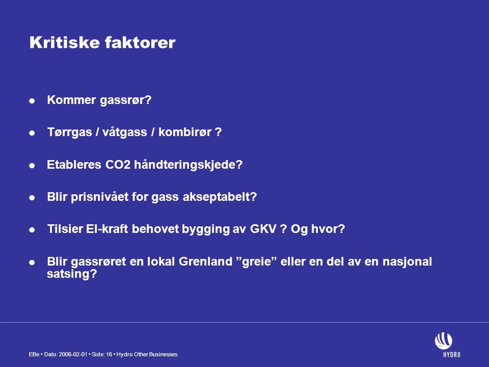EBe • Dato: 2006-02-01 • Side: 16 • Hydro Other Businesses Kritiske faktorer  Kommer gassrør?  Tørrgas / våtgass / kombirør ?  Etableres CO2 håndte