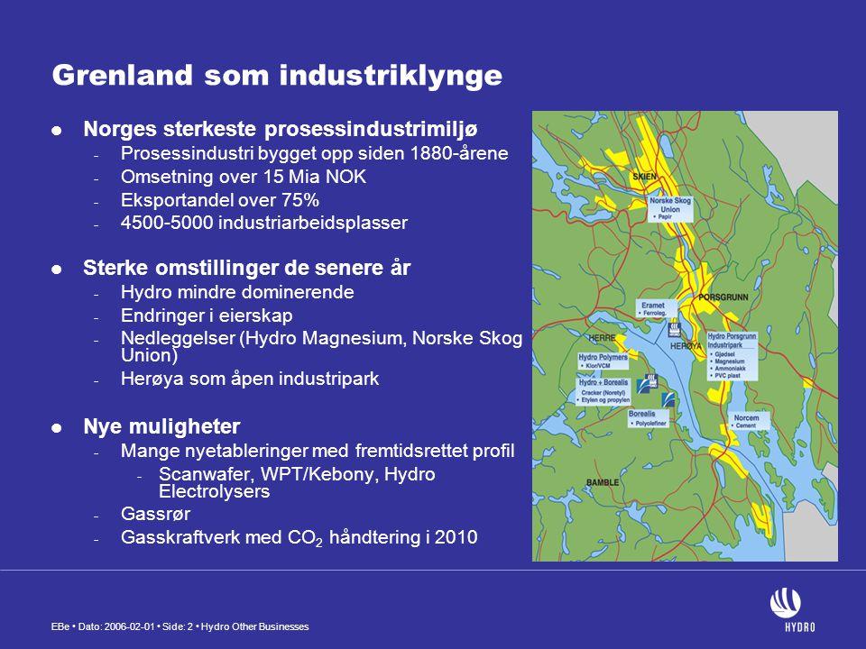 EBe • Dato: 2006-02-01 • Side: 3 • Hydro Other Businesses Fornybar industri  Grenland har gode erfaringer med industriell omstilling - Gjenbruk / resirkulering av - Arealer - Infrastruktur - Installasjoner og ikke minst….