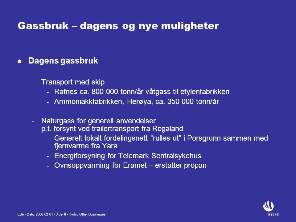 EBe • Dato: 2006-02-01 • Side: 6 • Hydro Other Businesses Gassbruk – dagens og nye muligheter  Dagens gassbruk - Transport med skip - Rafnes ca. 800