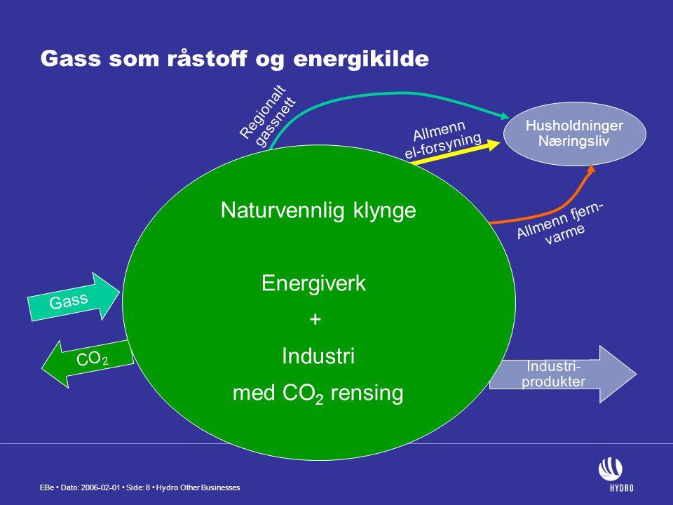 EBe • Dato: 2006-02-01 • Side: 8 • Hydro Other Businesses Gass som råstoff og energikilde CO 2 Gass Energi Råstoff Regionalt gassnett Gasskraft- verk