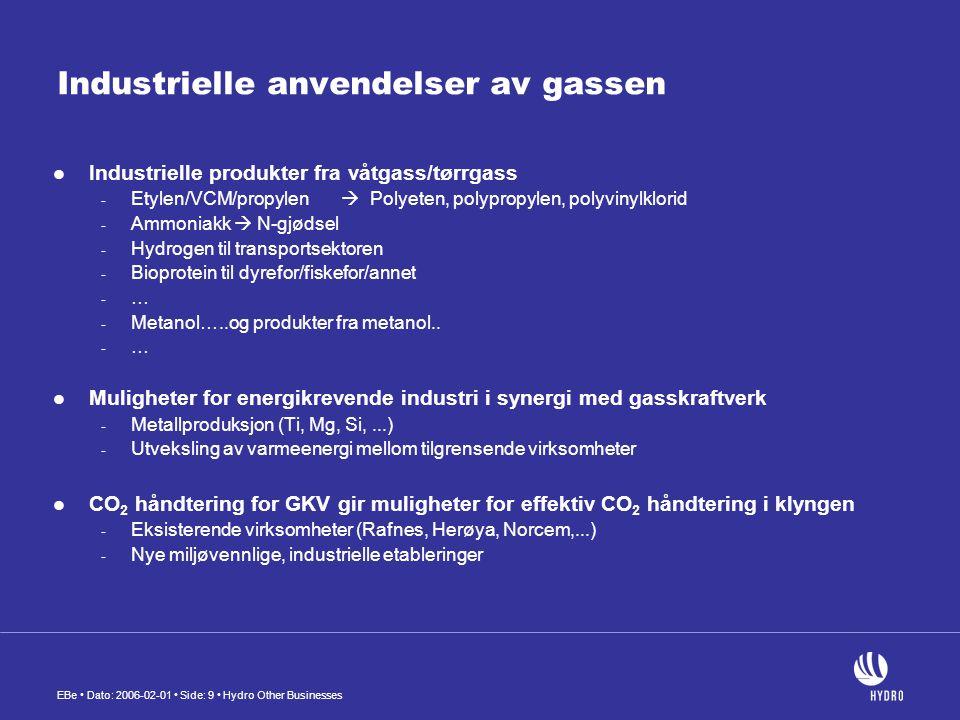 EBe • Dato: 2006-02-01 • Side: 10 • Hydro Other Businesses CO 2 fra industrien til deponering og økt oljeutvinning (Bellona: CO 2 til EOR – Miljø og verdiskapning hånd i hånd)
