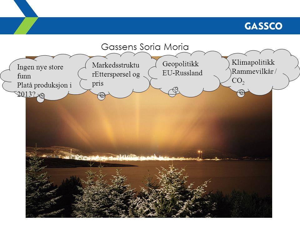 Gassens Soria Moria Ingen nye store funn Platå produksjon i 2013? Markedsstruktu rEtterspørsel og pris Klimapolitikk Rammevilkår / CO 2 Geopolitikk EU