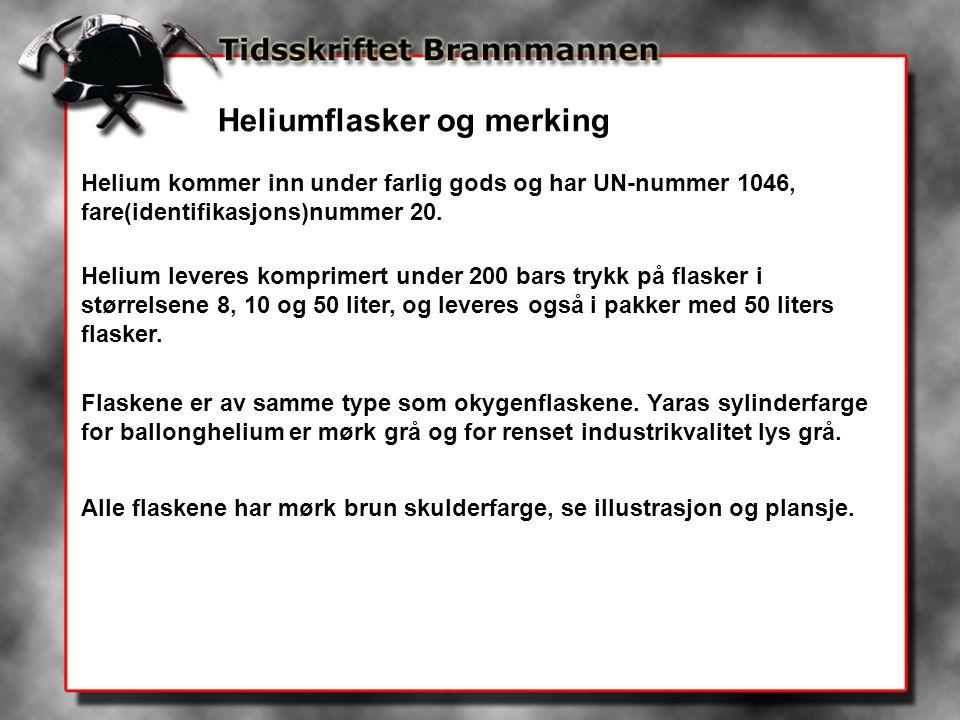 Heliumflasker og merking Helium kommer inn under farlig gods og har UN-nummer 1046, fare(identifikasjons)nummer 20.