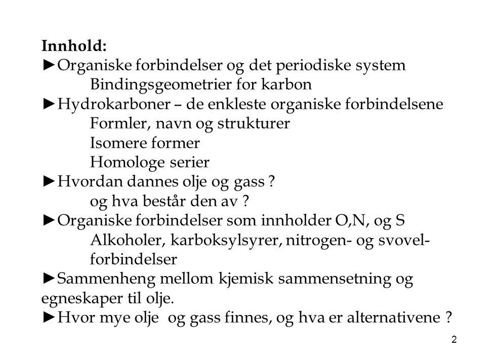 2 Innhold: ►Organiske forbindelser og det periodiske system Bindingsgeometrier for karbon ►Hydrokarboner – de enkleste organiske forbindelsene Formler
