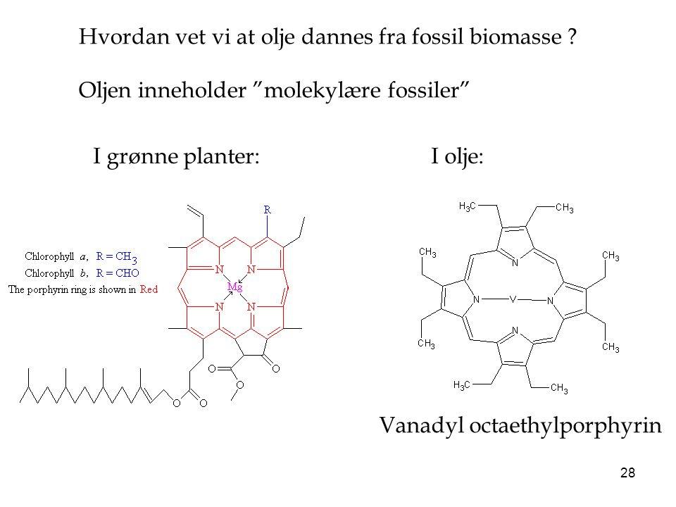 """28 Hvordan vet vi at olje dannes fra fossil biomasse ? Oljen inneholder """"molekylære fossiler"""" Vanadyl octaethylporphyrin I grønne planter:I olje:"""