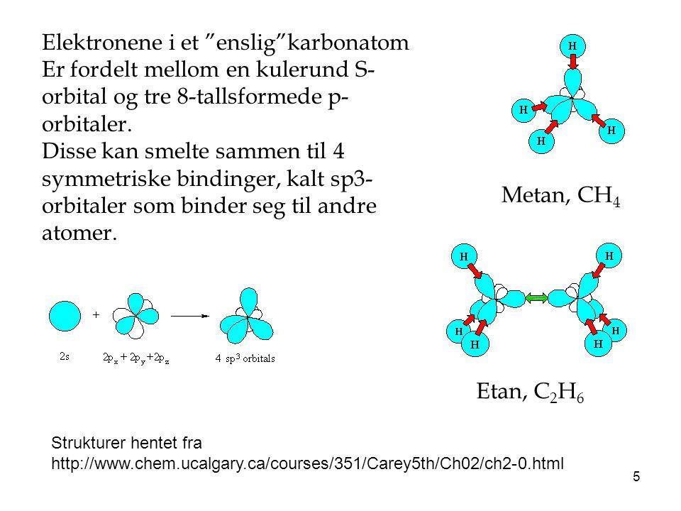 16 Aromatiske forbindelser: Sp2-hybridiserete karbon, en ledig orbital igjen på hvert karbon i en ring, danner en flytende dobbeltbinding Bensen: C 6 H 6 Ekstr stabil, plan forbindelse