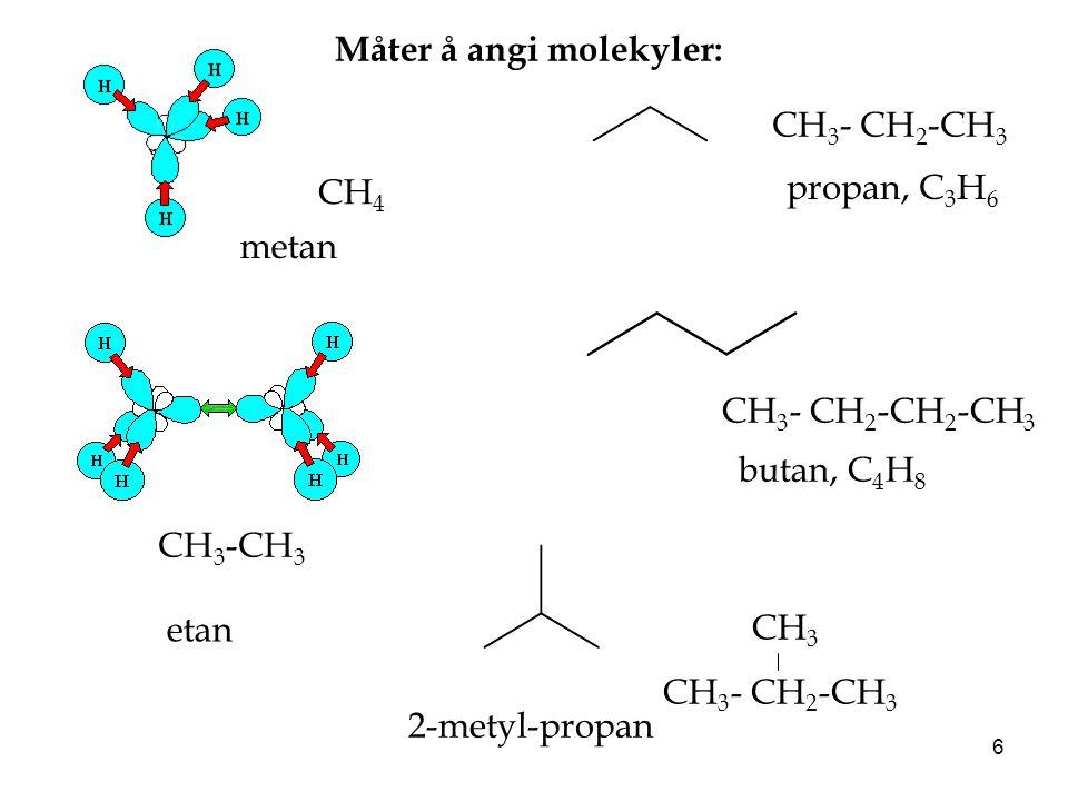 6 CH 4 CH 3 -CH 3 CH 3 - CH 2 -CH 3 metan etan propan, C 3 H 6 CH 3 - CH 2 -CH 2 -CH 3 butan, C 4 H 8 CH 3 CH 3 - CH 2 -CH 3 2-metyl-propan Måter å an