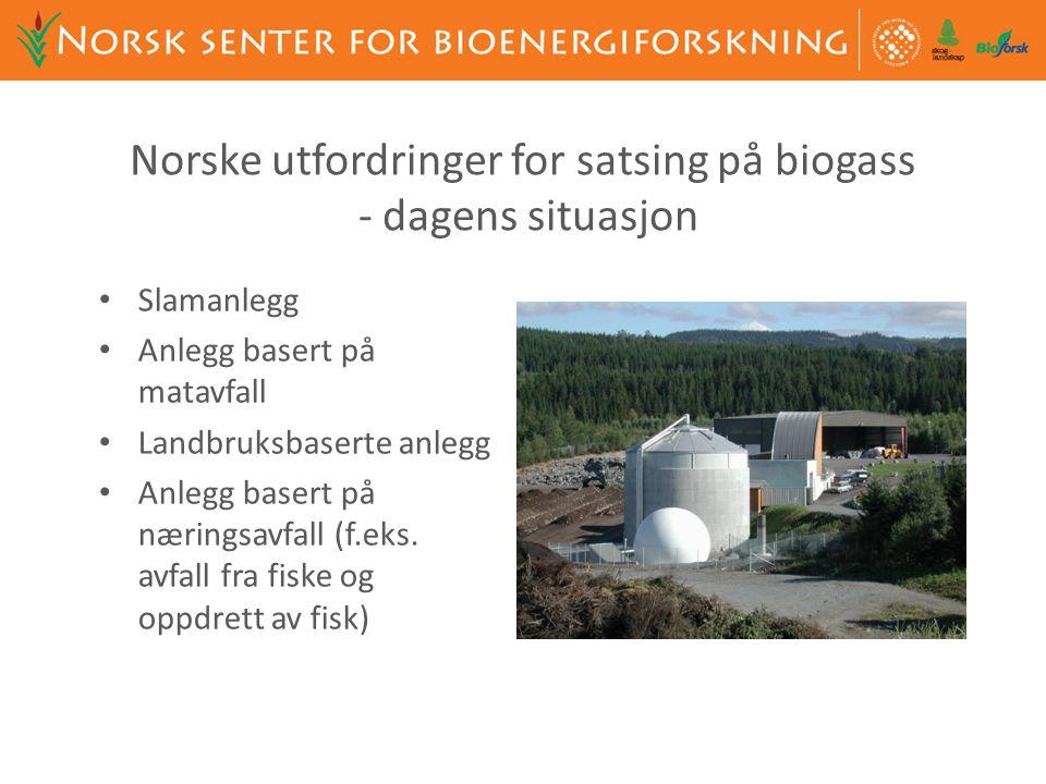 Norske utfordringer for satsing på biogass - dagens situasjon • Slamanlegg • Anlegg basert på matavfall • Landbruksbaserte anlegg • Anlegg basert på n