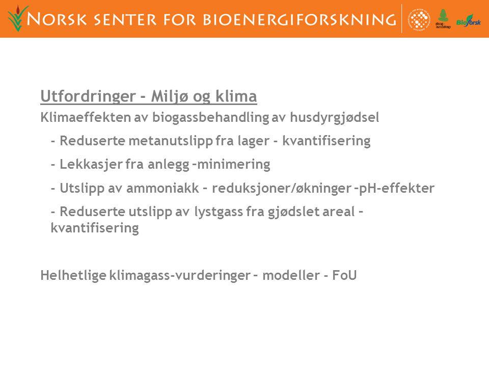 UMB, Bioforsk and Skog og landskap har etablert Norsk senter for bioenergiforskning Nesten alle prosjekter knyttet til biogass på Ås foregår som et samarbeid gjennom dette senteret.