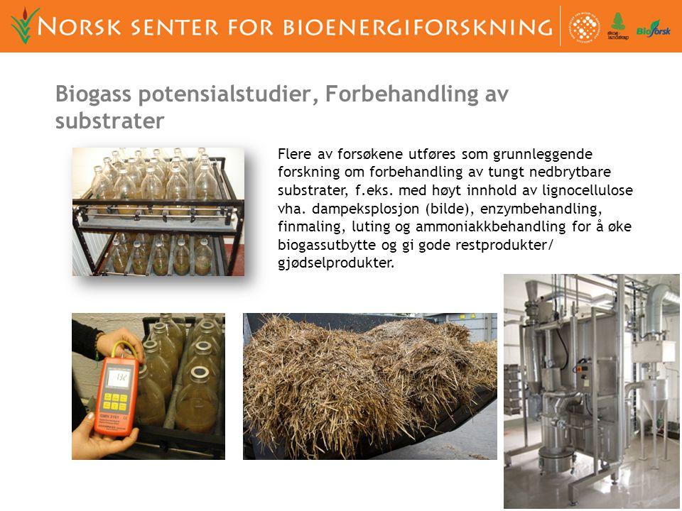 Flere av forsøkene utføres som grunnleggende forskning om forbehandling av tungt nedbrytbare substrater, f.eks. med høyt innhold av lignocellulose vha