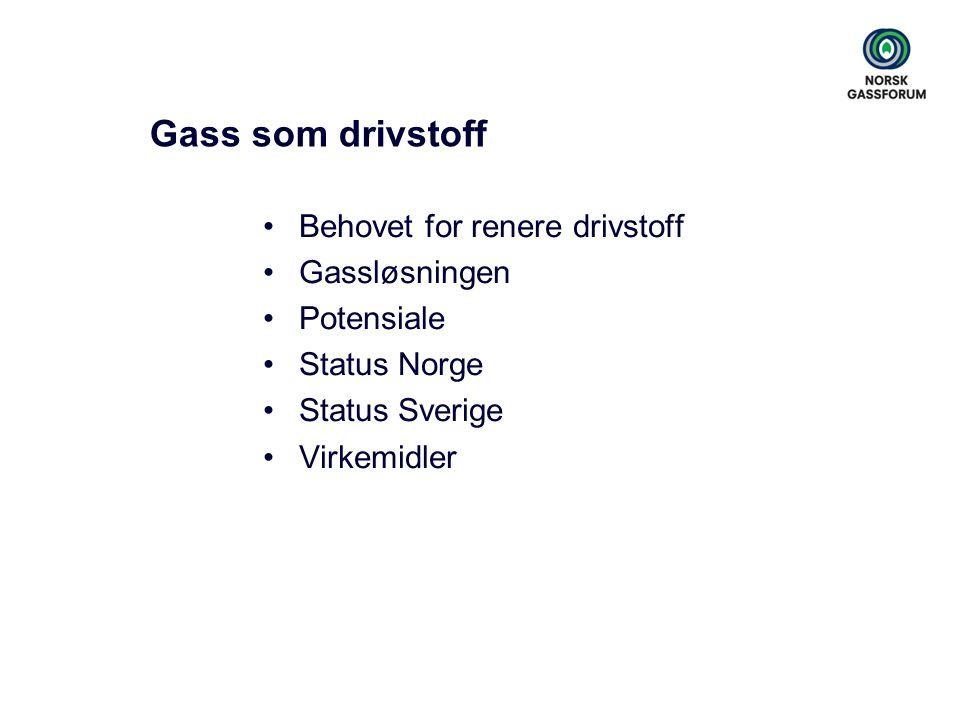 Gass som drivstoff •Behovet for renere drivstoff •Gassløsningen •Potensiale •Status Norge •Status Sverige •Virkemidler