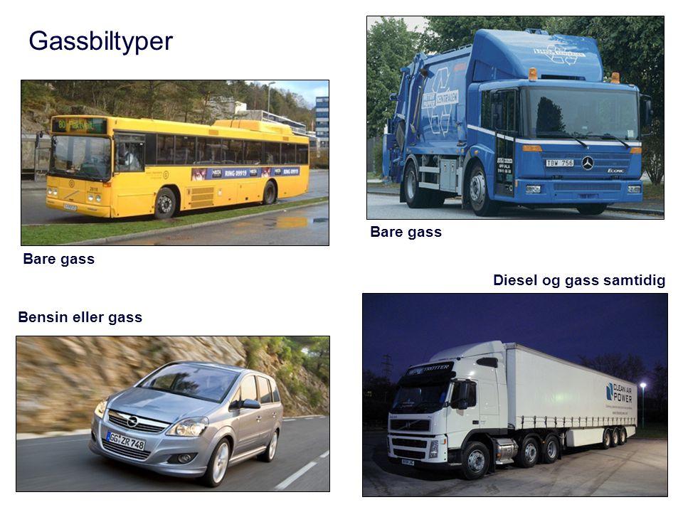 Gassbiltyper Bensin eller gass Bare gass Diesel og gass samtidig