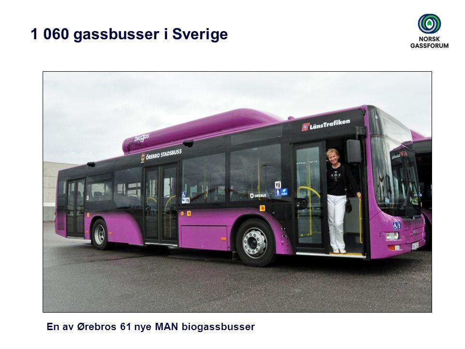 1 060 gassbusser i Sverige En av Ørebros 61 nye MAN biogassbusser