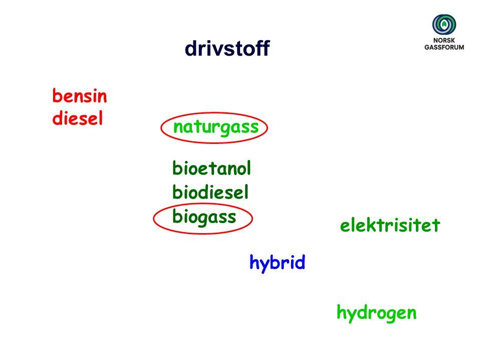 drivstoff bensin diesel bioetanol biodiesel biogass elektrisitet hybrid hydrogen naturgass