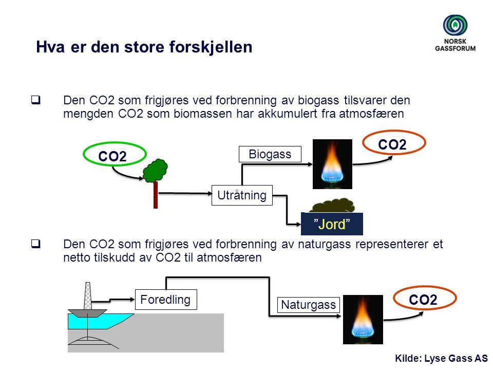 Hva er den store forskjellen  Den CO2 som frigjøres ved forbrenning av biogass tilsvarer den mengden CO2 som biomassen har akkumulert fra atmosfæren