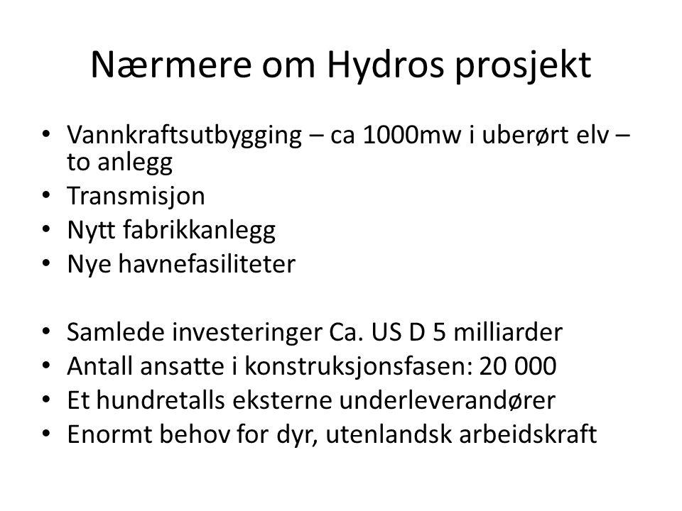 Nærmere om Hydros prosjekt • Vannkraftsutbygging – ca 1000mw i uberørt elv – to anlegg • Transmisjon • Nytt fabrikkanlegg • Nye havnefasiliteter • Sam