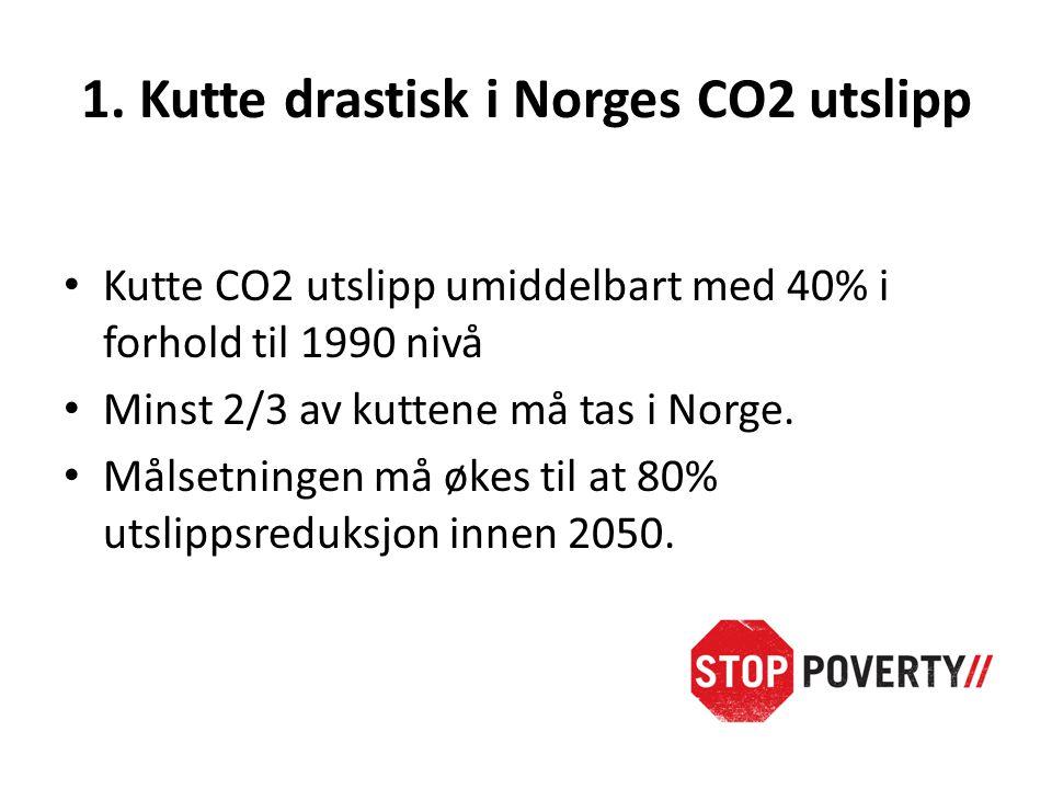 1. Kutte drastisk i Norges CO2 utslipp • Kutte CO2 utslipp umiddelbart med 40% i forhold til 1990 nivå • Minst 2/3 av kuttene må tas i Norge. • Målset
