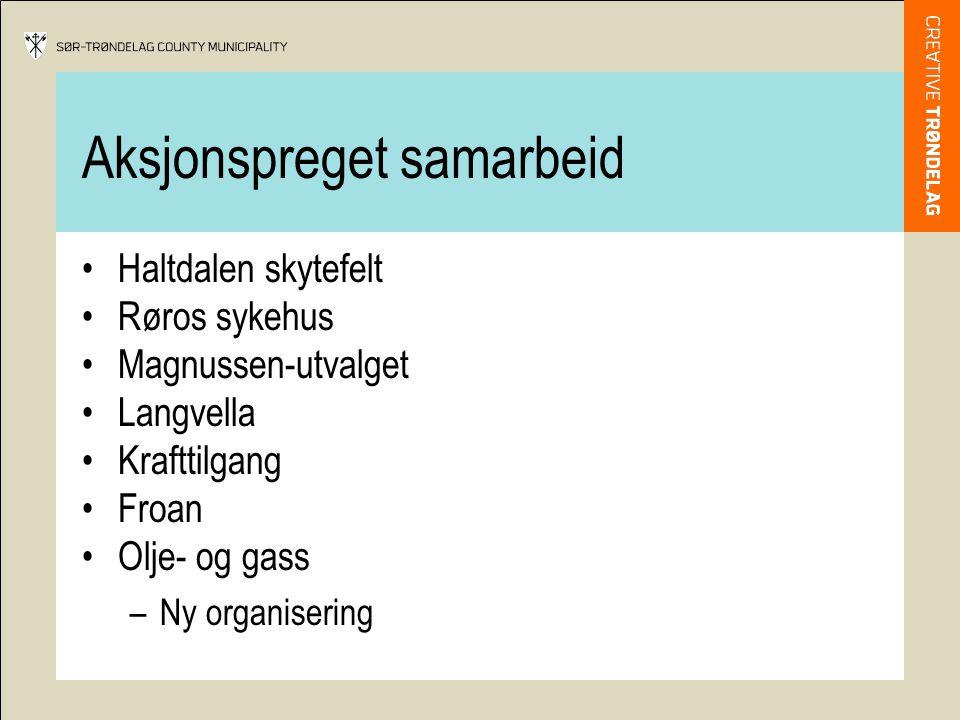 Aksjonspreget samarbeid •Haltdalen skytefelt •Røros sykehus •Magnussen-utvalget •Langvella •Krafttilgang •Froan •Olje- og gass –Ny organisering
