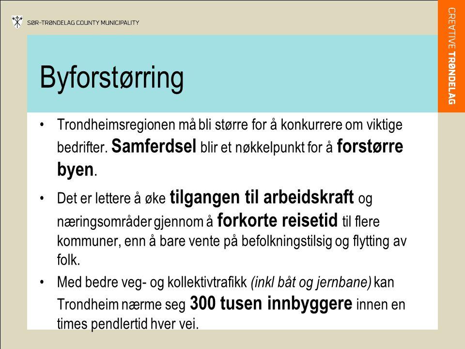 Byforstørring •Trondheimsregionen må bli større for å konkurrere om viktige bedrifter.