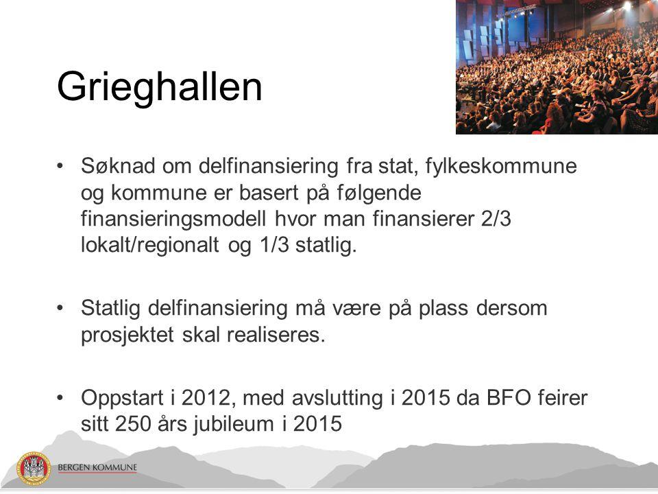 Grieghallen •Søknad om delfinansiering fra stat, fylkeskommune og kommune er basert på følgende finansieringsmodell hvor man finansierer 2/3 lokalt/re