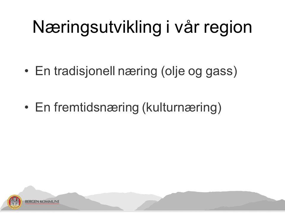 Næringsutvikling i vår region •En tradisjonell næring (olje og gass) •En fremtidsnæring (kulturnæring)
