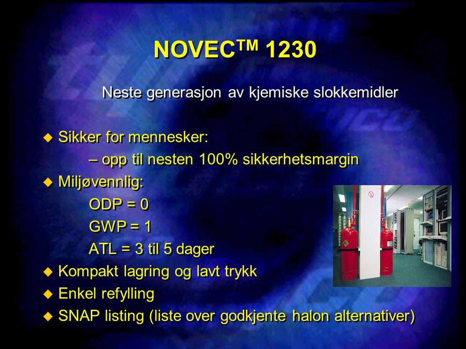 NOVEC TM 1230 Neste generasjon av kjemiske slokkemidler  Sikker for mennesker: – opp til nesten 100% sikkerhetsmargin  Miljøvennlig: ODP = 0 GWP = 1