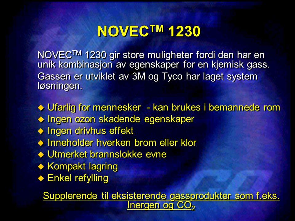 NOVEC TM 1230 NOVEC TM 1230 gir store muligheter fordi den har en unik kombinasjon av egenskaper for en kjemisk gass. Gassen er utviklet av 3M og Tyco