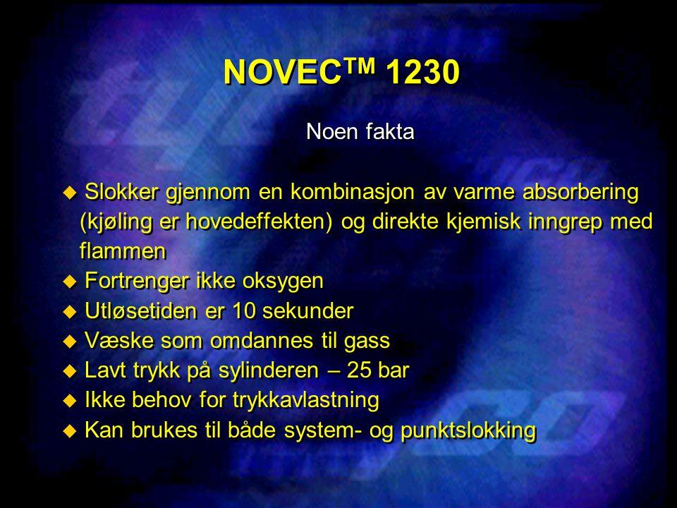 NOVEC TM 1230 Noen fakta  Slokker gjennom en kombinasjon av varme absorbering (kjøling er hovedeffekten) og direkte kjemisk inngrep med flammen  For