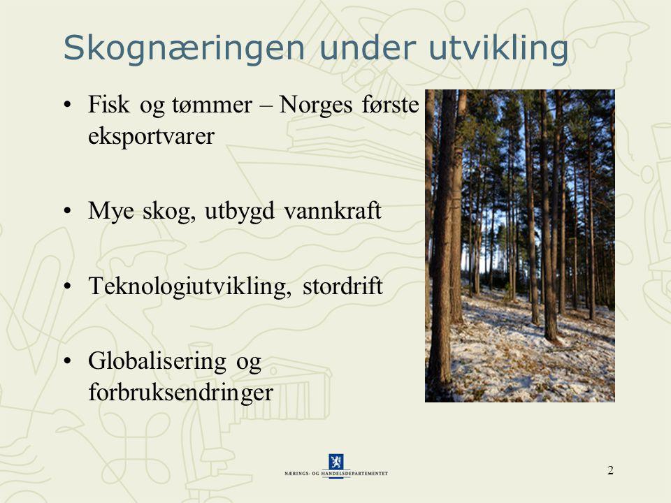 2 Skognæringen under utvikling •Fisk og tømmer – Norges første eksportvarer •Mye skog, utbygd vannkraft •Teknologiutvikling, stordrift •Globalisering