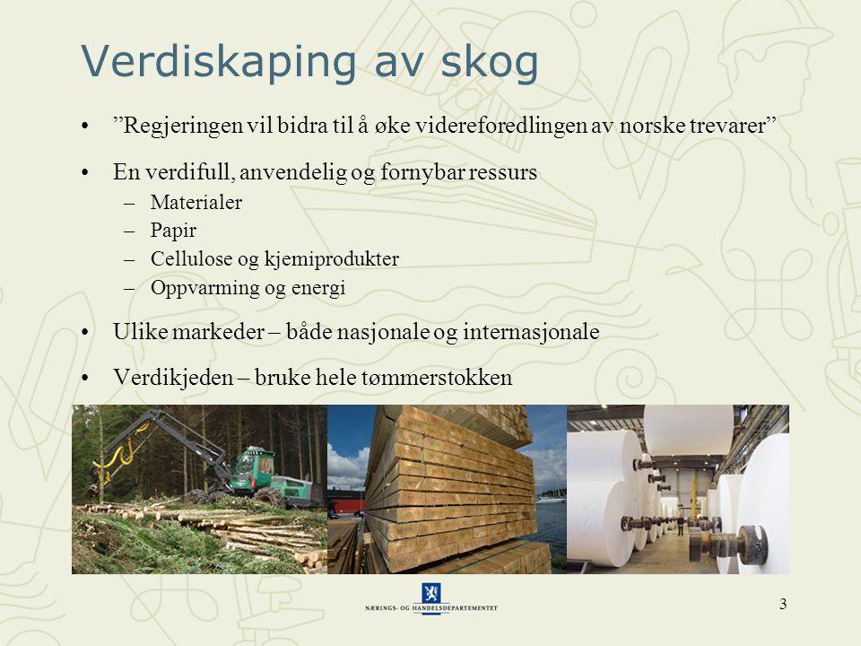 3 Verdiskaping av skog • Regjeringen vil bidra til å øke videreforedlingen av norske trevarer •En verdifull, anvendelig og fornybar ressurs –Materialer –Papir –Cellulose og kjemiprodukter –Oppvarming og energi •Ulike markeder – både nasjonale og internasjonale •Verdikjeden – bruke hele tømmerstokken