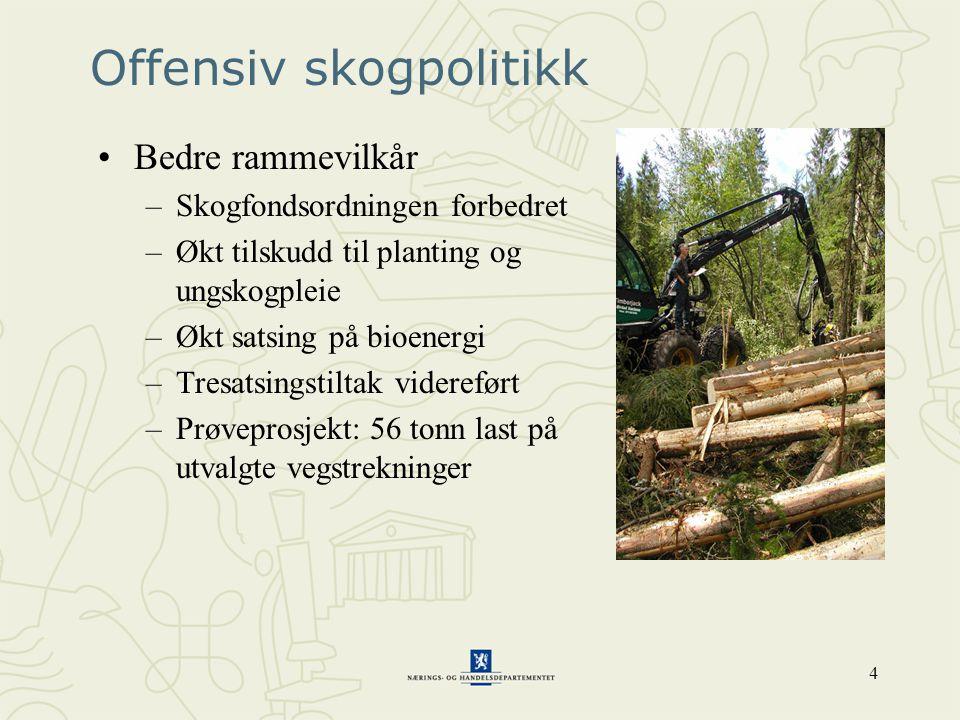 4 Offensiv skogpolitikk •Bedre rammevilkår –Skogfondsordningen forbedret –Økt tilskudd til planting og ungskogpleie –Økt satsing på bioenergi –Tresatsingstiltak videreført –Prøveprosjekt: 56 tonn last på utvalgte vegstrekninger