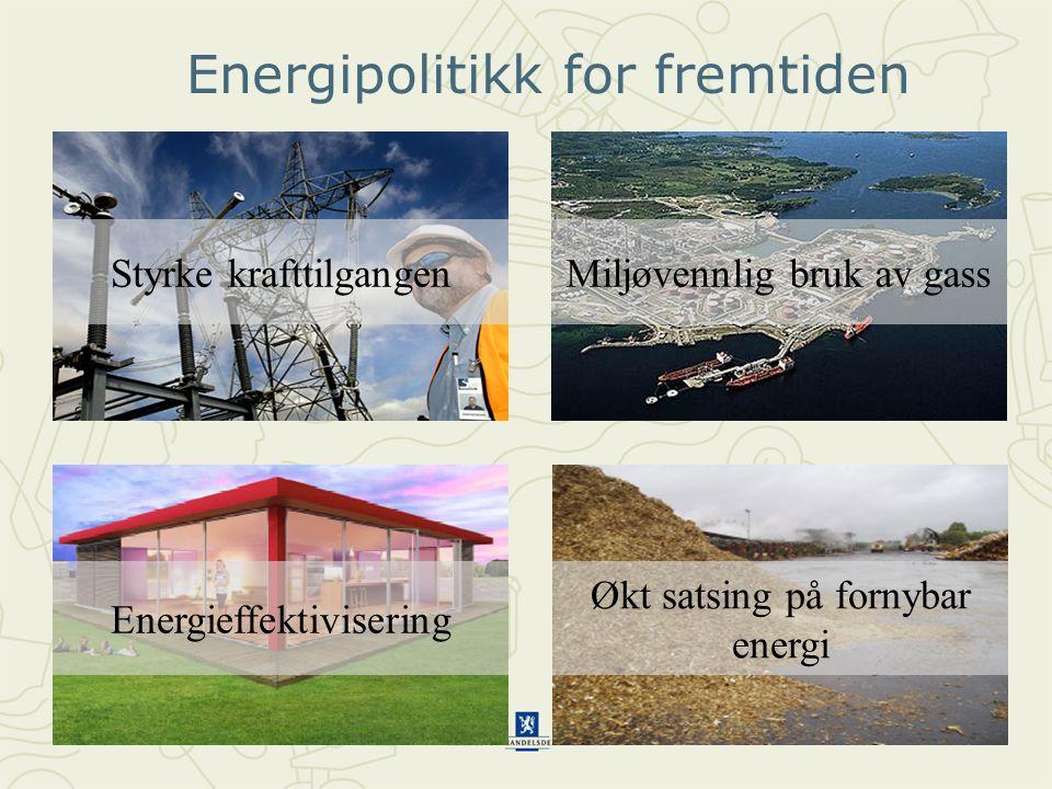 8 Energipolitikk for fremtiden Energieffektivisering Miljøvennlig bruk av gassStyrke krafttilgangen Økt satsing på fornybar energi