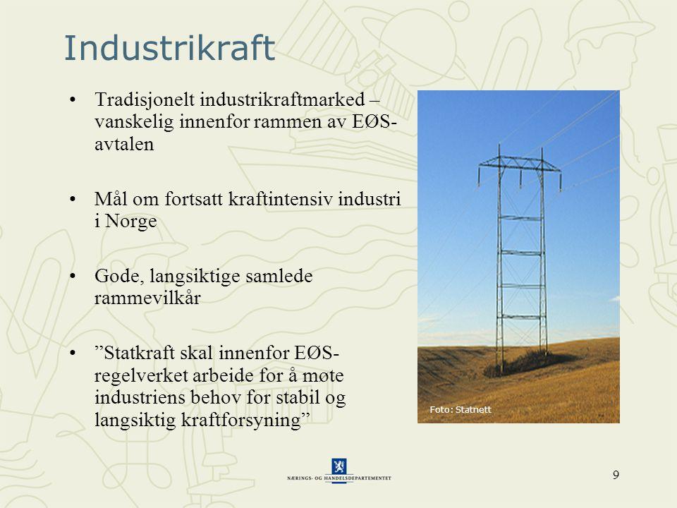 9 Industrikraft •Tradisjonelt industrikraftmarked – vanskelig innenfor rammen av EØS- avtalen •Mål om fortsatt kraftintensiv industri i Norge •Gode, l