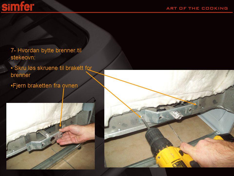 7- Hvordan bytte brenner til stekeovn: • Skru løs skruene til brakett for brenner •Fjern braketten fra ovnen