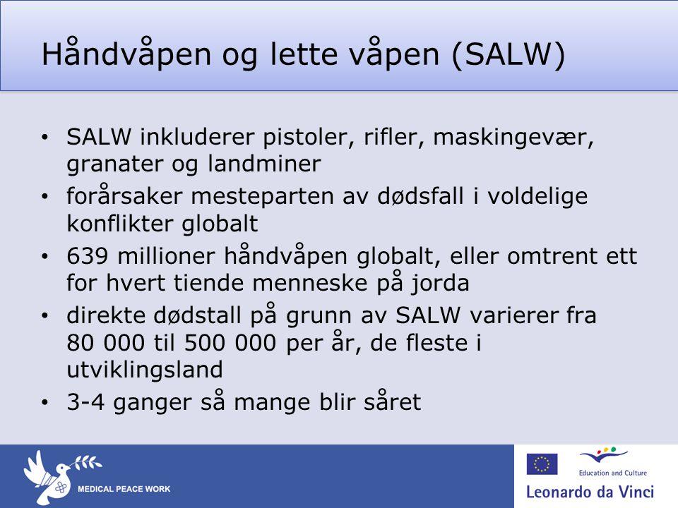 Håndvåpen og lette våpen (SALW) • SALW inkluderer pistoler, rifler, maskingevær, granater og landminer • forårsaker mesteparten av dødsfall i voldelig