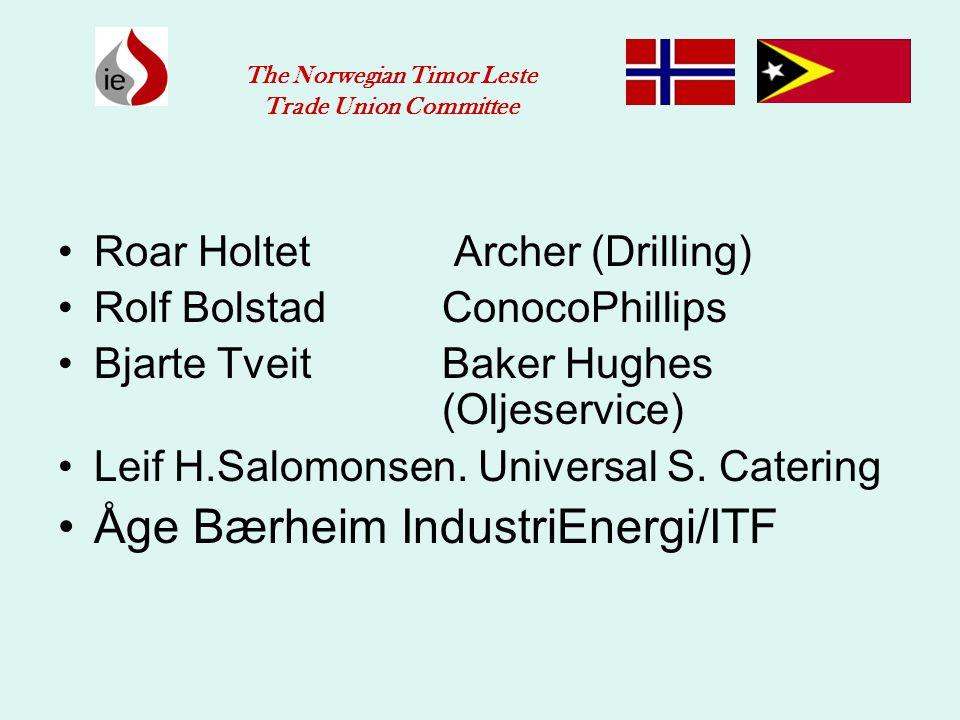 •Roar Holtet Archer (Drilling) •Rolf BolstadConocoPhillips •Bjarte TveitBaker Hughes (Oljeservice) •Leif H.Salomonsen. Universal S. Catering •Åge Bærh