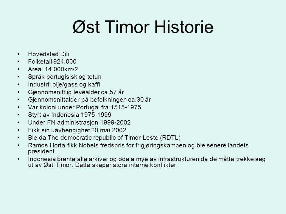 Øst Timor Historie •Hovedstad Dili •Folketall 924.000 •Areal 14.000km/2 •Språk portugisisk og tetun •Industri: olje/gass og kaffi •Gjennomsnittlig lev