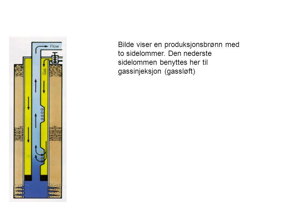 Bilde viser en produksjonsbrønn med to sidelommer. Den nederste sidelommen benyttes her til gassinjeksjon (gassløft)