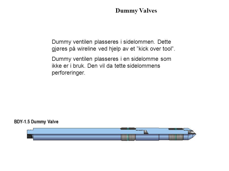 """Dummy Valves BDY-1.5 Dummy Valve Dummy ventilen plasseres i sidelommen. Dette gjøres på wireline ved hjelp av et """"kick over tool"""". Dummy ventilen plas"""